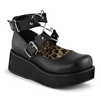 Black Vegan Sprite-02 Maryjane Heart Strap Platforms by Demonia Footwear
