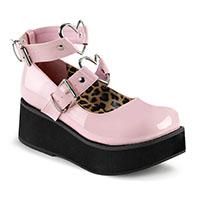 Pink Patent Vegan Sprite-02 Maryjane Heart Strap Platforms by Demonia Footwear