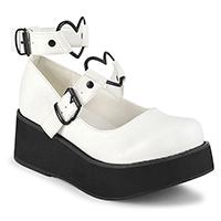 White Vegan Sprite-02 Maryjane Heart Strap Platforms by Demonia Footwear