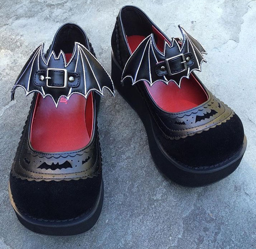 Sprite Velvet & Vegan Leather Brogue Platform Mary Jane with Bat Buckle Detail by Demonia Footwear