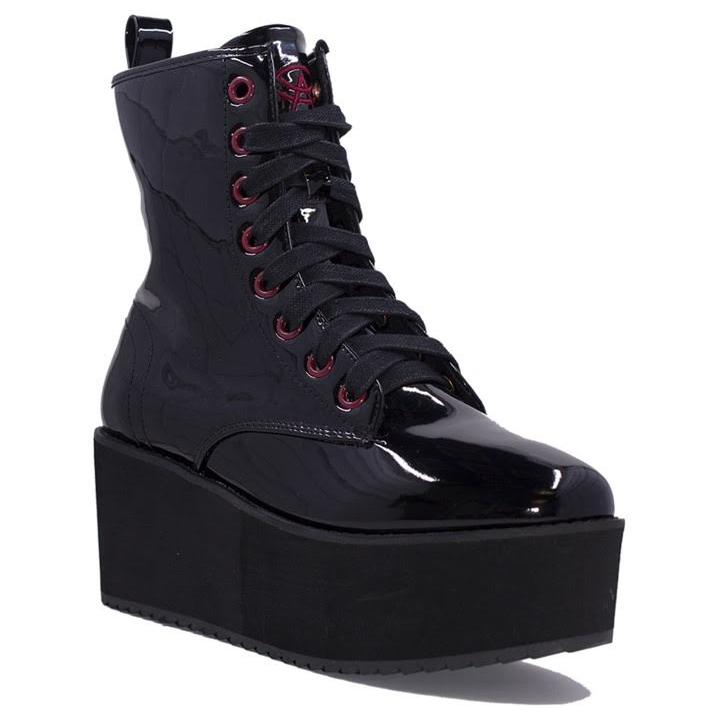Hi Stomp Platform Boot by Strange Cvlt - in Patent Black - SALE