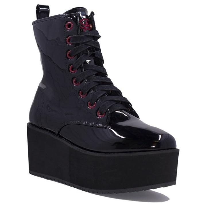 Hi Stomp Platform Boot by Strange Cvlt - in Patent Black