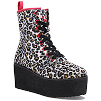 Hi Stomp Platform Boot by Strange Cvlt - in Fuzzy Leopard - SALE