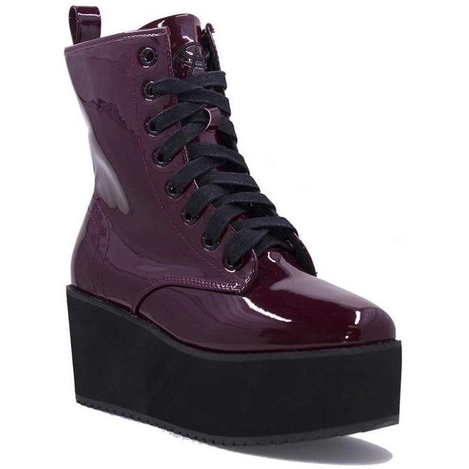 Hi Stomp Platform Boot by Strange Cvlt - in Patent Oxblood Red