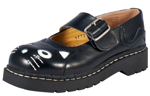 Black Leather With Black Cat Head Mary Janes by Anarchic (Sale price!)