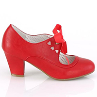 Wiggle Cuban Heel Mary Jane Pump with Ribbon Tie by Pin Up Couture / Demonia - in Red