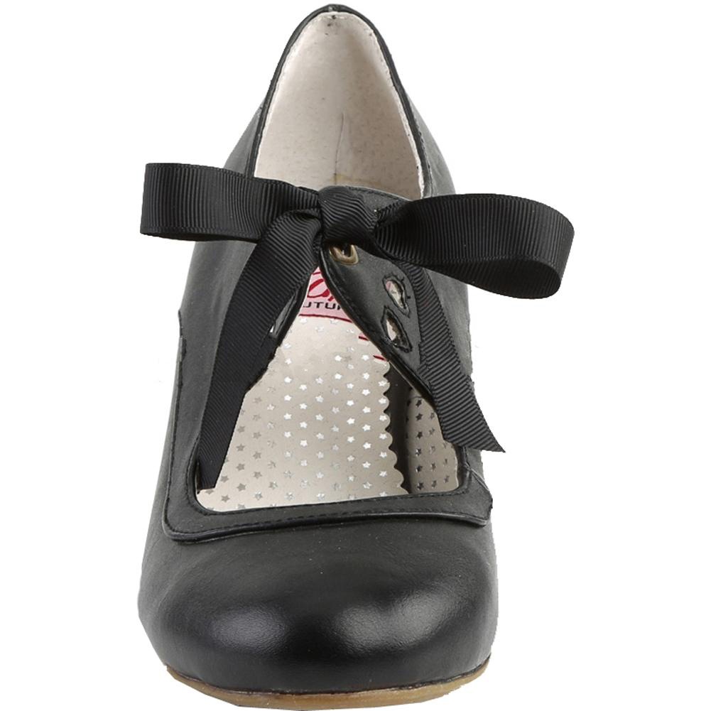"""Pin Up Couture Wiggle WIGGLE-32 2 1//2/"""" Cuben Heel Mary Jane Pump w//Ribbon Tie"""