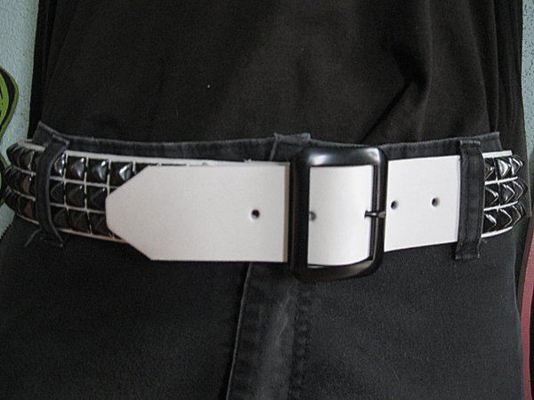 3 Row Pyramid Belt by Ape Leather (White Leather/Black Pyramids)
