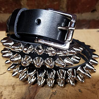 2 Row British Cone Belt- Black Leather
