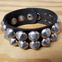 2 Row Cone Bracelet- Black Leather