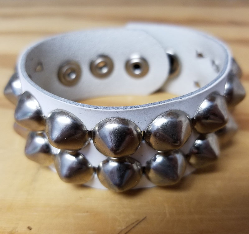 2 Row Cone Bracelet- White Leather