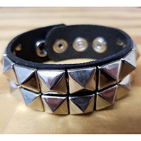 2 Row Pyramid Bracelet- Black Leather