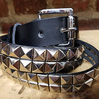 2 Row Pyramid Belt- Black Leather