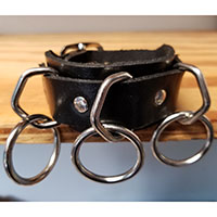 3 Ring bondage bracelet- Black Leather