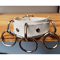 3 Ring bondage bracelet- White Leather
