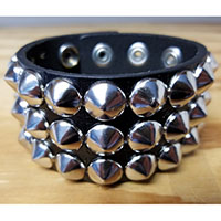 3 Row Cone Bracelet- Black Leather