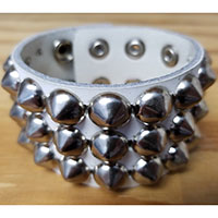 3 Row Cone Bracelet- White Leather