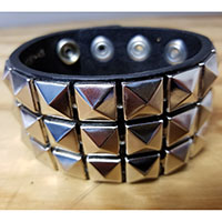3 Row Pyramid Bracelet- Black Leather