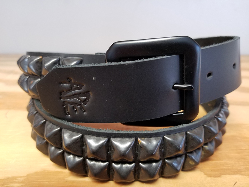 2 Row Pyramid Belt by Ape Leather (Black Leather/Black Pyramids)