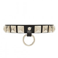 Sawyer Stud Ring Choker by Banned Apparel - in black faux leather