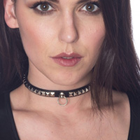 Calypso Stud Ring Choker by Banned Apparel - in black faux leather