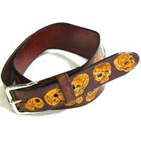 Antique Skulls on a Brown Leather Belt