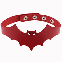 Vespertilio Bat Choker by Banned Apparel - in red faux leather