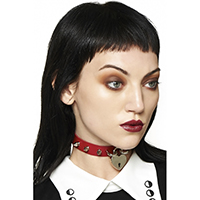 Bellatrix Heart Lock & Spike Choker by Banned Apparel - Red
