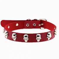 LeStrange Skull Stud Choker by Banned Apparel - in red faux leather