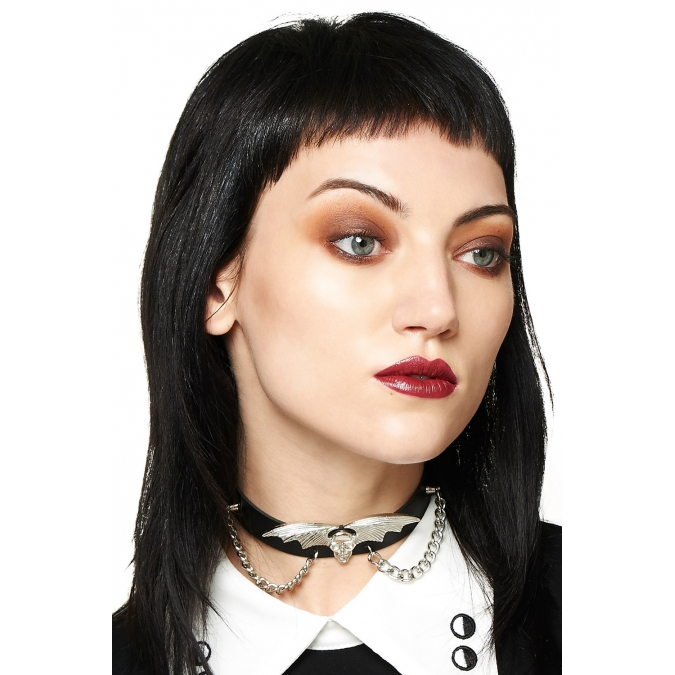 Thunder Bat Wing Skull Choker by Banned Apparel