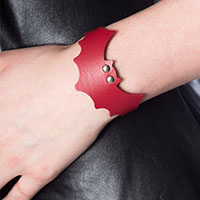 Nightwing PVC Bat Bracelet by Banned Apparel - in red