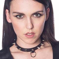 Lucifer Tree Spike Bondage Ring Choker by Banned Apparel - in black faux leather