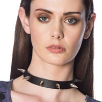 Cone Spike Collar Choker by Banned Apparel - in black faux leather