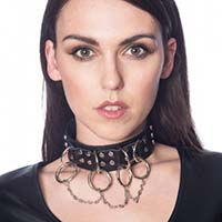 Darkness Bondage Ring & Chain Choker by Banned Apparel - in black faux leather