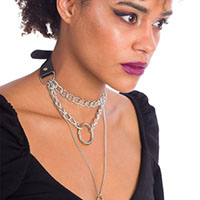 Notus Layered Choker Lock Necklace by Banned Apparel