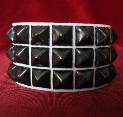 3 Row Pyramid Bracelet by Ape Leather (White Leather/Black Pyramids)