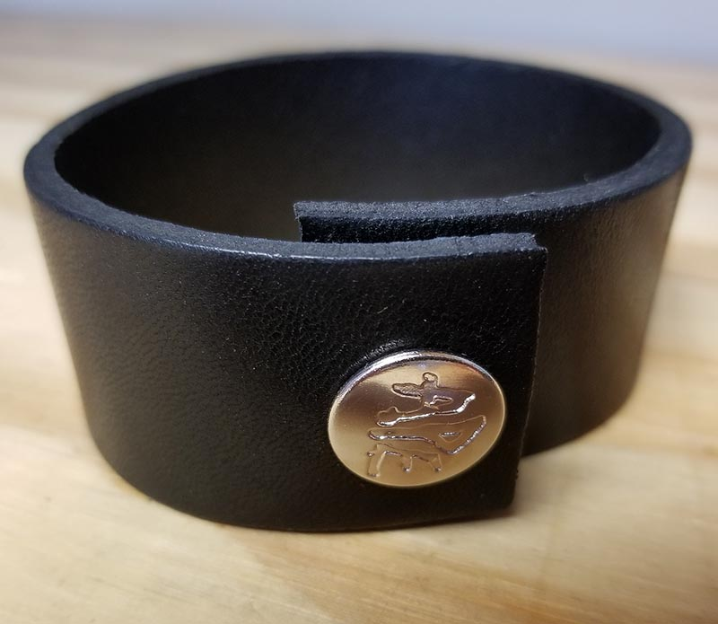"1 1/4"" Black Leather Bracelet by Ape Leather"