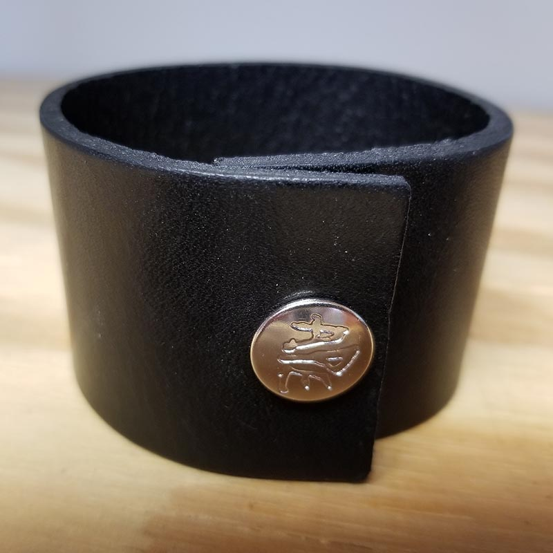 "1 3/4"" Black Leather Bracelet by Ape Leather"