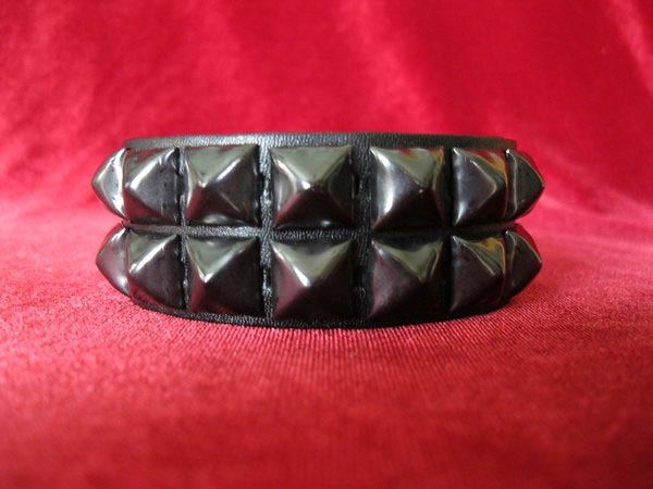 2 Row Pyramid Bracelet by Ape Leather (Black Leather/Black Pyramids)
