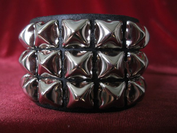 3 Row Pyramid Bracelet by Ape Leather (Black Leather/Silver Pyramids)