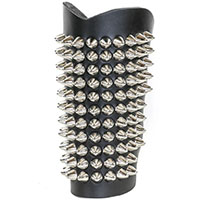 11 Row British Cone Studs on a Black Leather Armband by Funk Plus