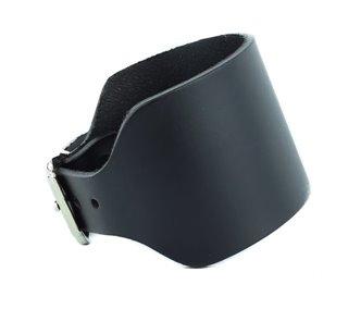 Black Leather Buckle Bracelet by Funk Plus