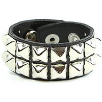 2 Row Pyramid Bracelet by Funk Plus- Black Patent (Vegan)