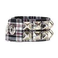 2 Row Pyramid Bracelet by Funk Plus- Black Plaid