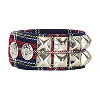 2 Row Pyramid Bracelet by Funk Plus- Blue Plaid