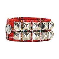 2 Row Pyramid Bracelet by Funk Plus- Red Plaid