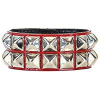 2 Row Pyramid Bracelet by Funk Plus- Red Patent (Vegan)