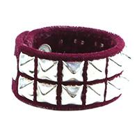 2 Row Pyramid Bracelet by Funk Plus- Burgundy Velvet