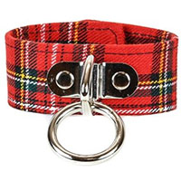 1 Bondage Ring on a Red Plaid Bracelet by Funk Plus