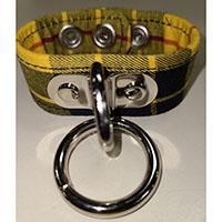 1 Bondage Ring on a Yellow Plaid Bracelet by Funk Plus